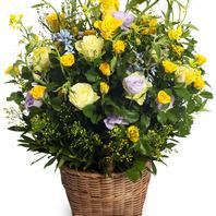 노랑장미꽃바구니