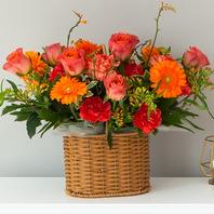 주황톤꽃바구니