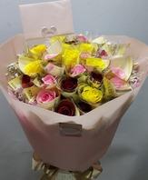 돈래핑/3색꽃다발