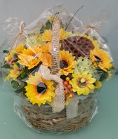 해바리기 조화꽃바구니(본사택배발송)